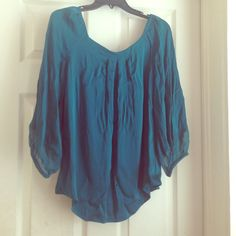 SALE ⭐️DVF silk top!⭐️ Beautiful teal DVF top! Feels amazing when the delicate silk moves across your skin! Fits loosely and sleeves are capped with elastic. So beautiful paired with gold accessories! item just reduced Diane von Furstenberg Tops