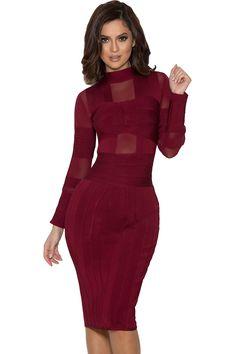 Clothing : Bandage Dresses : 'Maiko' Wine Bandage and Mesh Dress