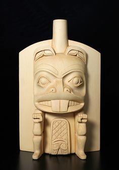 "Beaver FrontletMitch AdamsHaida/Tsimshian  Yellow Cedar  9"" x 6"" x 2"""