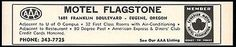 Motel Flagstone Ad Eugene Oregon AC Pool U of O Campus 1964 Roadside Ad Travel