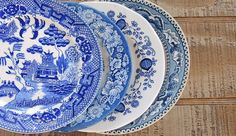Mismatched Blue and White China Plates Set of by RosebudsOriginals