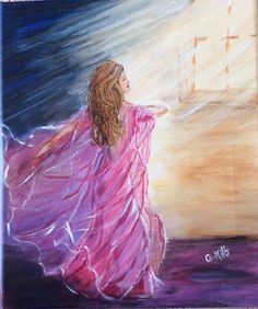 Prophetic Art painting of girl with pink dress dancing in spirit worshipping Lord.