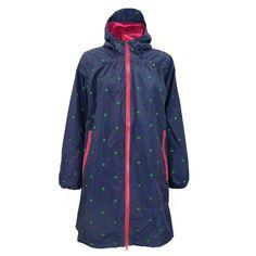 Danefæ regnjakke, Helen Regnfrakke, Indigo/Emerald Dots #regnfrakke #regnjakke #superlovelove