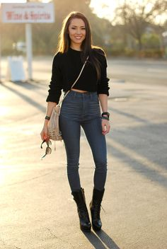 crop top and high waist jeans