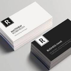 Chic and Clean Black White Monogrammed Business Card