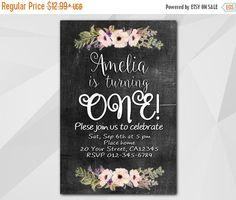 1st Watercolor #Chalkboard Birthday Invitation by Digi Invites https://www.etsy.com/shop/DigiInvites/    **Text can be changed for any occasion **This listing is for a custo... #chalkboard #xa022c ➡️ https://www.etsy.com/listing/481547971/sale-50-1st-birthday-girl-invitation?utm_campaign=products&utm_content=a16a48f7d26a4e93a9064dbd4a705c99&utm_medium=pinterest&utm_source=sellertools