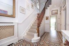 30 Relaxing Mirror Designs Ideas For Hallway Dado Rail Hallway, Tiled Hallway, Hallway Flooring, Edwardian Hallway, Edwardian House, Victorian Homes, 1930s Hallway, 1930s House, Hall Tiles