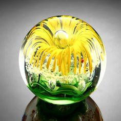 """Yellow Flower Paperweight Glass Sphere 3.5"""" SPI http://www.amazon.com/dp/B008EX7DVY/ref=cm_sw_r_pi_dp_wYRgxb13KN4M3"""