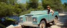 ... Mamma Mia. Vintage Land Rover Series III driven by Meryl Streep's character.