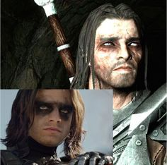 It all makes sense now. Long hair grungy look, messy emo guyliner(and the entire pad of black eyeshadow apparently.) I totally have a type. Skyrim Movie, Skyrim Werewolf, Winter Soldier Movie, Scrolls Game, Elder Scrolls Skyrim, Bethesda Games, Just Video, Spyro The Dragon