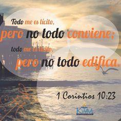 El hecho de que tengas la libertad de hacer lo que quieras, no quiere decir que es positivo o traerá buenos frutos a tu vida. Sigue los mandamientos de Dios.