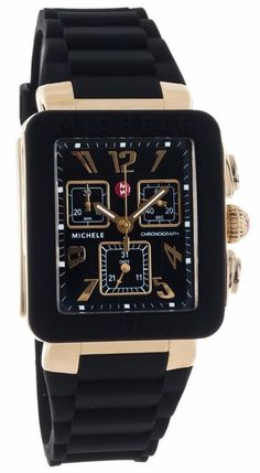 MICHELE MWW06L000015 WOMEN'S PARK JELLY BEAN SWISS GOLD BLACK SILICON WATCH NWT #Michele #Fashion