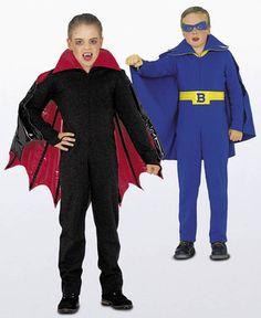 burda style, Schnittmuster für Halloween - Bat Boy und Vampir: Overall jeweils mit Reißverschluss, großem Kragen und einem separaten Cape, das mit Klettband befestigt wird