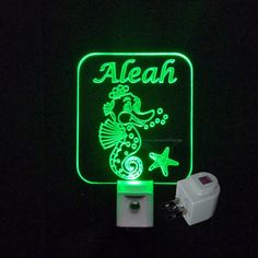 Girls Personalized Custom #Seahorse Fish LED Night Light - Available on www.uniqueledproducts.com #personalizedgift #LED