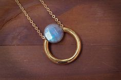 Dainty Blue Gemstone Layering Necklace Blue Flash by BEADANDBONES
