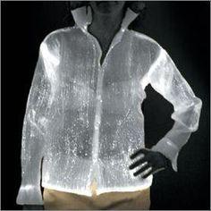 luminous shirt using fiber optic cloth Fiber Optic Lighting, Dance Gear, Geometric Fashion, Fashion Vocabulary, Smart Outfit, Textiles, Wearable Technology, Beautiful Lights, Party Shirts