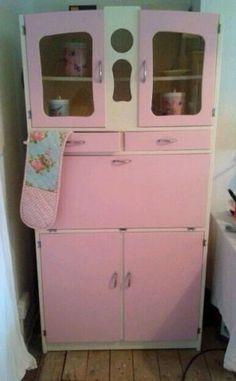 How effing cute! 1950's Vintage Kitchenette Kitchen Larder Unit Cabinet Rockabilly