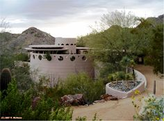 Norman Lykes House, Frank Lloyd Wright 1967 Phoenix AZ Wright did not finish this design...he did the sketches before he died...Phoenix Arizona. Finished by John Rattenbury who developed the sketches into working drawings.