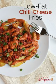 LOW-FAT Chili Cheese Fries! These are less than 1 g fat per serving and nearly 16 g protein! Healthy and delish and only 8 ingredients, Vegan, Gluten-free and Oil-free! By Http://TheVegan8.com #vegan #glutenfree #oilfree