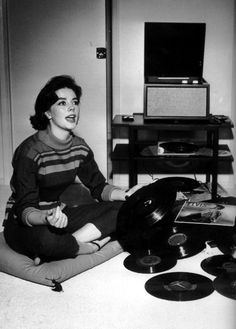 Natalie Wood listening to records