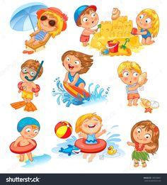 Cute little girl in a bathing suit sunning on the beach under an umbrella. Funny boy in mask, flippers, swimming cap, Lifebuoy. Building a sand castle. Hawaiian dance by Lyudmyla Kharlamova, via ShutterStock