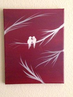 This listing is my original acrylic painting of white love birds, done on a red violet background. It is painted on a stretched 8 by 10 canvas and is ready to hang on the wall.  Kindly contact me if you have questions about this listing.  For more of my work, please visit: www.etsy.com/shop/preethiart