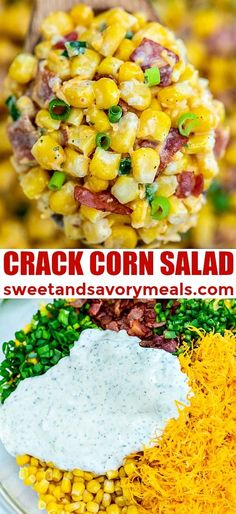 Crack Corn Salad is crunchy, creamy, sweet, sour, and savory all at the same time! Make this quick side dish for your cookouts this summer! sides Crack Corn Salad [video] - Sweet and Savory Meals Side Dish Recipes, Veggie Recipes, Mexican Food Recipes, Cooking Recipes, Healthy Recipes, Carrot Recipes, Ham Recipes, Crockpot Side Dishes, Noodle Recipes