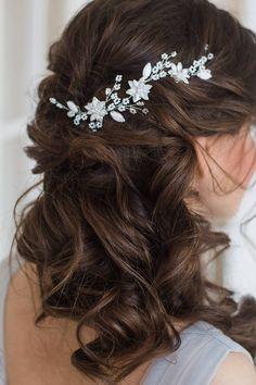 Pelo vid tocado de novia boda pelo accesorio floral nupcial Peinados De  Fiesta 073674b20dff