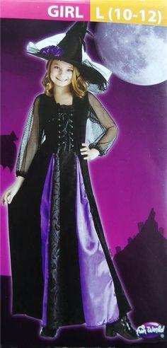 girls black purple witch medieval renaissance halloween costume l 10 12 ebay - Ebaycom Halloween Costumes