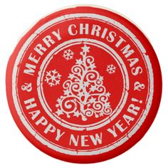 Merry Christmas & Happy New Year Holiday Stamp Art Chocolate Dipped Oreo