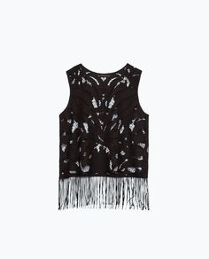 Image 8 of OPEN-WORK FRINGED TOP from Zara