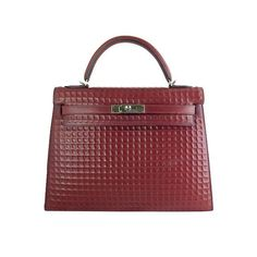 Hermes Kelly 32 Waffle Rouge H Boxcalf Leather Bag - Rare