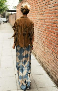 maxi dress/skirt, cowboy kinda jacket