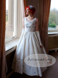 Sleeveless Scoop Neck Taffeta Ball Gown with Butterfly Embroidery Detail