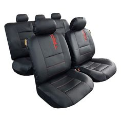 full set seat covers, 9pcs, with split reat seat covers, black leatherette with red embroidery logo. Custom Seat Covers, Truck Seat Covers, Car Covers, Car Seats, Toyota Tacoma Seat Covers, Toyota Trd Pro, Waterproof Car Seat Covers, Leather Seat Covers, Cool Trucks