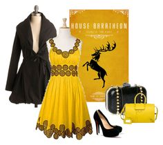 """baratheon bb"" by summersdream ❤ liked on Polyvore featuring moda, eShakti, Christian Louboutin, House of Harlow 1960, Balenciaga, trench coats, kitten heels, clutches e game of thrones"