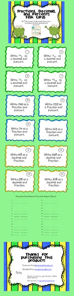 Fractions, Decimals and Percent Task Cards.  A great way to review material.  http://www.teacherspayteachers.com/Product/Fractions-Decimals-and-Percents-Task-Cards
