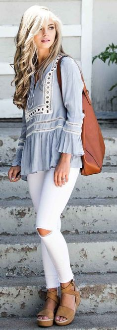 #summer #trending #outfits |  Embroidered Tunic + White Denim