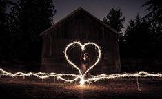 An amazing photo using wedding sparklers!
