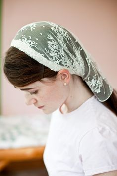 Delicate Lace headcovering prayer veil wedding scarf, via Etsy.