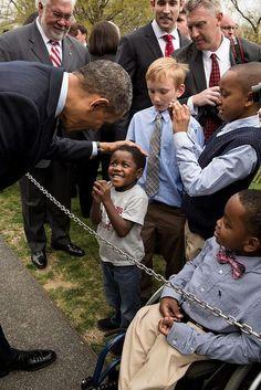 President Obama greeting children