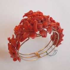 Antique 1800's Style Red Coral Bracelet 14k Gold Mounted