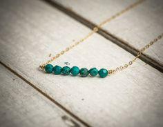 Turquoise  bar necklace turquoise necklace dainty by ByYaeli
