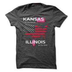 KANSAS IS MY HOME ILLINOIS IS MY LOVE - #tshirt design #sweatshirt embroidery. GET  => https://www.sunfrog.com/LifeStyle/KANSAS_ILLINOIS-DarkGrey-Guys.html?id=60505