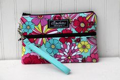 Padded Wristlet Mini Purse Neon Floral by ElisaLou on Etsy, $32.00