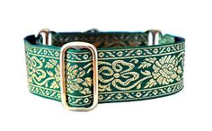 Martingale Collar Emerald and Gold by TheHoundHaberdashery on Etsy, $23.95