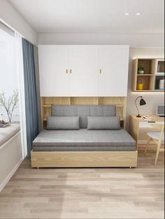 Built-in Wardrobe with folding sofa bed – Sofa Design 2020 Sofa Bed Design, Bedroom Bed Design, Bedroom Furniture Design, Bed Furniture, Home Decor Furniture, Furniture Makeover, Furniture Ideas, Small Bedroom Designs, Small Room Design