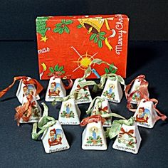 Box 1950s Japan Miniature Porcelain Bells Christmas Ornaments
