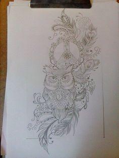 """My tattoo design, gedink jy sal dit like, sien j het baie van dieselfde images onder jou """"tattoos album"""".. al wat verander is die half maan opi die uil se bors, dit is nou n yin yang sign.."""