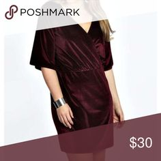 6214cf6c27f Boohoo Plus Velvet Maroon Faux Wrap Dress New without tags boohoo Plus  velvet dress in maroon